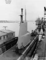 USS Charr at Mare Island Naval Shipyard, California, United States, 9 Nov 1951, photo 1 of 2; note USS Baya and USS Montrose nearby