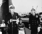 Lieutenant Commander R. A. Harris assuming command of USS Charr, Mare Island Naval Shipyard, California, United States, 30 Jun 1955