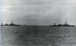 USS Louisville towing disabled USS Chicago, Battle of Rennell Island, 30 Jan 1943