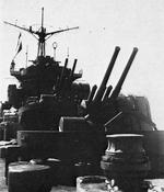 12.7cm anti-aircraft guns aboard Chitose, in the Wanshan Archipelago off Guangdong, China, Oct 1938