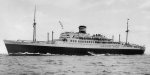 Luxury liner Nitta Maru, off Nagasaki, Japan, Mar 1940; she was converted to escort carrier Chuyo during the war
