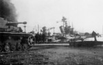 French cruiser Colbert scuttled at Toulon, France, circa 27 Nov 1942