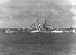 USS Columbia in Surigao Strait, Philippine Islands, 3 Jan 1945; note Measure 33 Design 1d camouflage; photograph taken from USS Makin Island