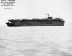 USS Copahee in San Francisco Bay, California, United States, 9 May 1943, photo 2 of 3; note TBD Devastator and PV-1 Ventura aircraft on flight deck