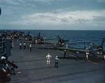 Hellcat fighters warming up aboard USS Cowpens during Marshall Islands Campaign, Jan 1944