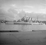 Cumberland in Grand Harbour, Malta, 8 Jan 1946
