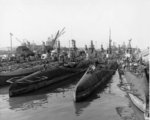 US submarines Bashaw, Mingo, Dragonet, Guavina, Sunfish, Sargo, Spearfish, and Saury at Mare Island Naval Shipyard, California, United States, 6 Dec 1945
