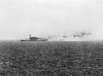 HMS Eagle listing in the Mediterranean Sea, 11 Aug 1942