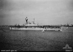 HMS Eagle at Alexandria, Egypt, 20 Jul 1940; note HMS Warspite in background