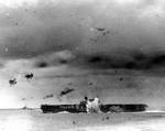 Japanese bomb exploded off port side of Enterprise during Battle of the Santa Cruz Islands, 26 Oct 1942