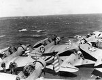 TBD-1 Devastator and F4F-3 Wildcat aircraft parked on Enterprise