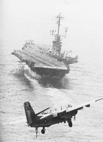S-2E Tracker aircraft approaching USS Essex in the Mediterranean Sea, 1967; seen in US Navy Naval Aviation News Jan 1970