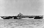 USS Essex departing San Francisco Naval Shipyard, California, United States, 15 Apr 1944, photo 1 of 4; note camouflage measure 32 design 6/10D