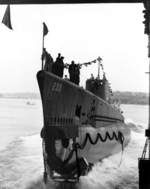 Launching of submarine Finback, Portsmouth Naval Shipyard, Kittery, Maine, United States, 25 Aug 1941