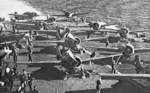 Martlet IV and Seafire IIc fighters of Nos. 885, 888, and 893 Squadron FAA aboard HMS Formidable off Italy, Sep 1943