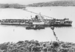 HMS Formidable going through the anti-submarine boom in Sydney harbor, Australia, mid-1945; photo taken from George