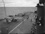 Martlet fighters on the catapult of HMS Formidable, in the Indian Ocean off Madagascar, late Apr to early May 1942