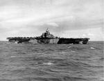 Franklin in the Mariana Islands, 1 Aug 1944; photograph taken from carrier Hornet