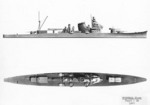 US Navy recognition drawings of Japanese cruisers Kako and Furutaka, late 1930s or early 1940s, 1 of 2