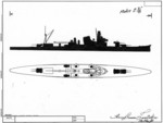 US Navy recognition drawings of Japanese cruisers Kako and Furutaka, late 1930s or early 1940s, 2 of 2