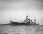 Furutaka at anchor off Shinagawa, Japan, Oct 1935; note Aoba and Kinugasa in background