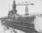 Battleship Fuso in drydock, Kure, Japan, 28 Apr 1933