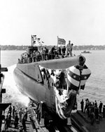 Launching of USS Gabilan, Groton, Connecticut, United States, 19 Sep 1943