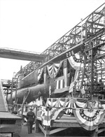 Submarine Gar decorated for launching, showing her bow section, Groton, Connecticut, United States, 7 Nov 1940