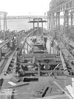 Submarine Gar under construction, Groton, Connecticut, United States, 28 Sep 1940, photo 2 of 2; topside bow view looking aft