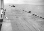 Corsair fighter landing on HMS Glory, off Rabaul, New Britain, 6 Sep 1945