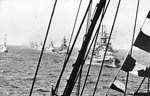 Gneisenau, Admiral Graf Spee, Admiral Scheer, and Deutschland steamed in a line during the German Naval Review of Aug 1938