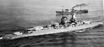 Panzerschiff Admiral Graf Spee in the English Channel, Apr 1939, photo 2 of 3; note Arado Ar 196 A-1 floatplane her catapult