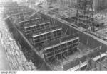German carrier hull Flugzeugträger A (future Graf Zeppelin) under construction, Kiel, Germany, 22 Mar 1937, photo 5 of 9