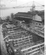 German carrier hull Flugzeugträger A (future Graf Zeppelin) under construction, Kiel, Germany, 22 Mar 1937, photo 8 of 9