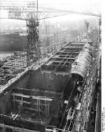 German carrier hull Flugzeugträger A (future Graf Zeppelin) under construction, Kiel, Germany, 22 Mar 1937, photo 9 of 9
