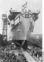 Launching of Graf Zeppelin, Kiel, Germany, 8 Dec 1938