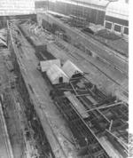 German carrier hull Flugzeugträger A (future Graf Zeppelin) under construction, Kiel, Germany, 22 Mar 1937, photo 3 of 9