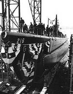 Launching of USS Grunion, 22 Dec 1941