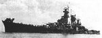 Port bow view of large cruiser Guam, circa late 1944