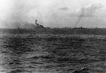 Explosion amidships aboard USS Lexington, 1727 on 8 May 1942, photo 3 of 3
