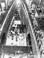 Helena under construction at New York Navy Yard, Brooklyn, New York, United States, 24 Jun 1937
