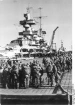 Heavy cruiser Admiral Hipper embarking German troops for the invasion of Norway, 6 Apr 1940