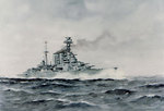 Watercolor by Edward Tufnell depicting Hood underway, 1941