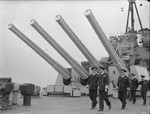 King George VI aboard HMS Howe with Captain C. H. L. Woodhouse and Admiral John Tovey, Scapa Flow, Scotland, United Kingdom, date unknown