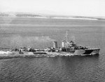 Hull underway off the Puget Sound Navy Yard, Washington, United States, 10 Oct 1944; note US Navy camouflage Measure 31, Design 6d