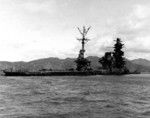 Hyuga sunken in shallow water, Kure, Japan, 9 Oct 1945