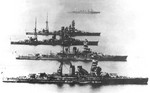 Battleships Nagato, Kirishima, Ise, and Hyuga, date unknown