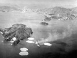 Hyuga under air attack, Kure, Japan, 24 Jul 1945