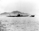 Japanese submarine I-68 underway, Mar 1934; she was likely to be running trials