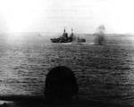 Indianapolis under Japanese shore bombardment off Saipan, Jun 1944